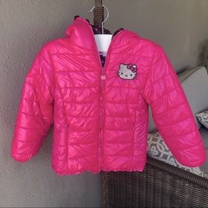 Hello Kitty hooded puffer jacket. Size 6X.